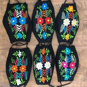Mexican Face Mask Floral Embroidered With Filter